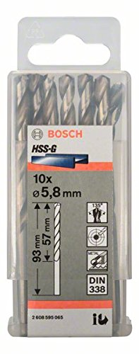 Bosch Professional Metallbohrer HSS-G geschliffen (10 Stück, Ø 5,8 mm) 5.8