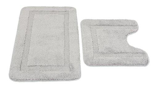 Vaelson Badematten Set Microfaser Grau 50x80 + 50x50 cm Oeko-TEX 100 Zertifiziert Badeteppich -