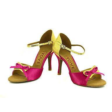Scarpe da ballo-Personalizzabile-Da donna-Balli latino-americani / Salsa-Tacco su misura-Raso-Nero / Blu / Giallo / Rosa / Viola / Rosso Black