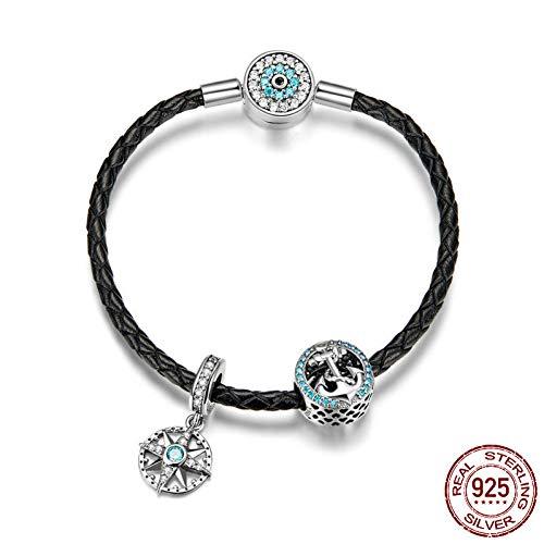 2d3b5d61d935 Burenqi Real 925 Sterling Silver Lucky Beads Charm Pulseras para Mujeres  Accesorios de Joyería de Moda
