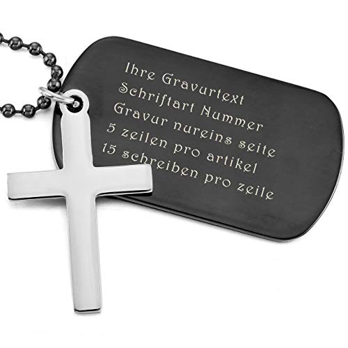 MeMeDIY Silber Ton Schwarz Edelstahl Anhänger Halskette Dog Tag Kruzifix Kreuz Gravur