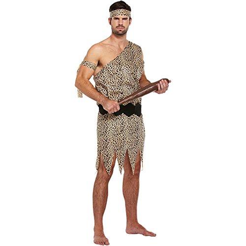 Herren Caveman historischen prähistorische Hirsch Do Kostüm Outfit, Braun, XL (Cher Halloween Kostüme)