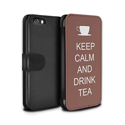 Stuff4 Coque/Etui/Housse Cuir PU Case/Cover pour Apple iPhone SE / Boire du Thé/Bleu Design / Reste Calme Collection Boire du Thé/Brun