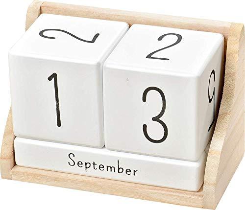 Boltze Dauerkalender Würfel Manja aus Holz, Farbe weiß mit hellem Würfelständer