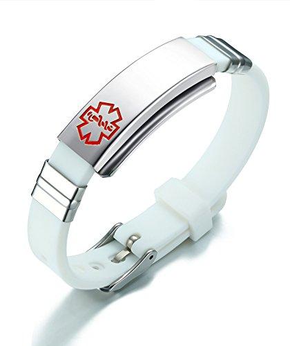 Vnox Freie gravierte Edelstahl Silikon Medical Alert ID SOS Verstellbares Armband für Männer Frauen Weiß