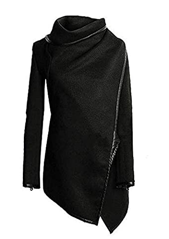 Damen Mantel Herbst Winter Lang Elegant Vintage Irregular Asymetrisch Wasserfall Langarm Revers Casual Warm Mäntel Wintermantel Cardigan Outwear