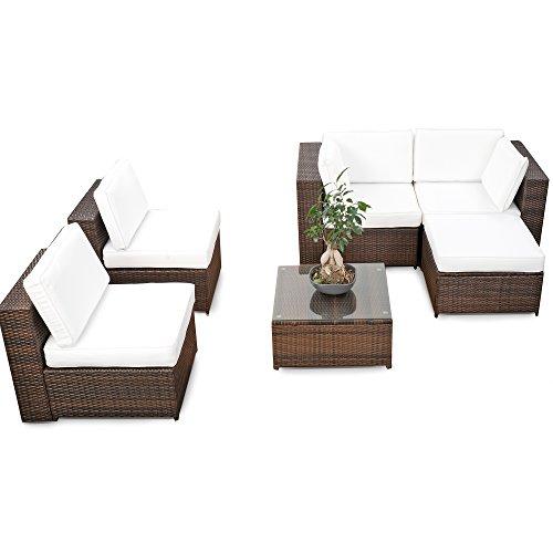 XINRO® erweiterbares 18tlg. XXL Lounge Set Polyrattan - braun ...