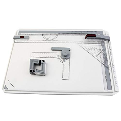 A3-Zeichenbrett, metrisches System 51 x 36,5 cm Preciva-Zeichentisch Zeichenbrett-Tischset Parallel-Motion-Zubehör für Kunstmalerei