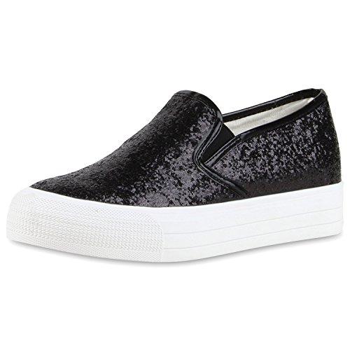 Modische Damen Sneakers | Bequeme Slip-ons| Funkelnde Glitzerapplikationen | Angesagte Plateausohle | Gr. 36-41 Schwarz Nero