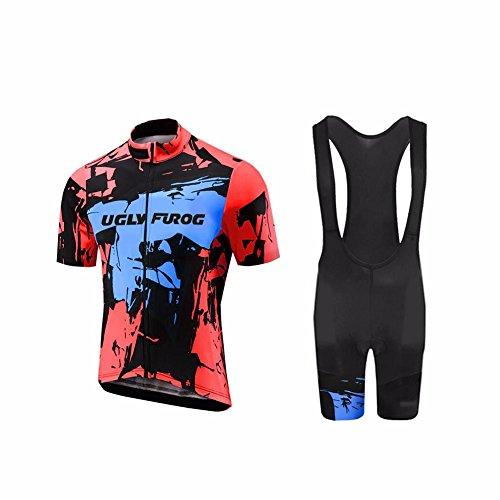 Uglyfrog Designs -Camo Bunt Sport Radsport Trikots & Shirts+Trägerhosen Sets with Gel Pad Kurzarm Herren Sommer Stil Bekleidung Atmungsaktiv Clothes (Winter-handschuh Assos)
