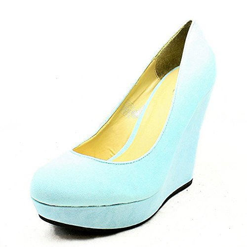 Pastel Blue high heel suedette wedge court shoes