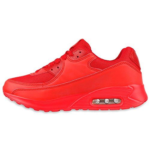 Damen Herren Unisex Sportschuhe Neon Runners Laufschuhe Sneakers Rot