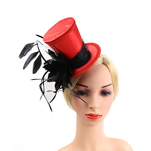 FLAMEER Vintage Mini Top Hat Der 1920er Jahre Große Gatsby Feder Fascinator Frau Damen Headwear - Schwarz