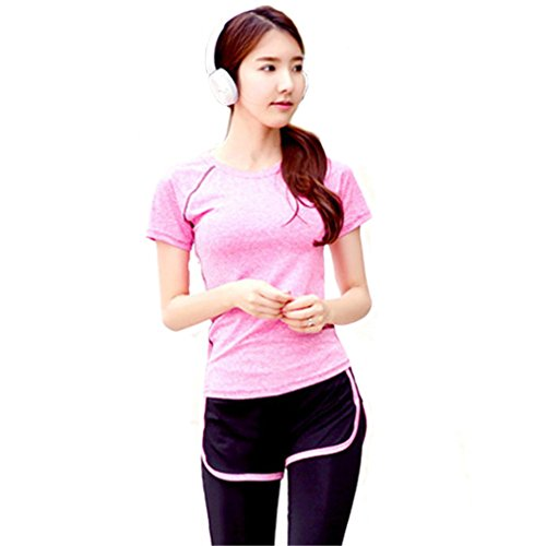 REALLION Femmes Rose Coutures en Cours Yoga Courir Casual Manches Courtes T-Shirt Rose