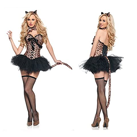 Nihiug Halloween Costume Sexy Tiger Pattern Leopard Cat Girl Lead Dance Performance Costume Stage Dress Body