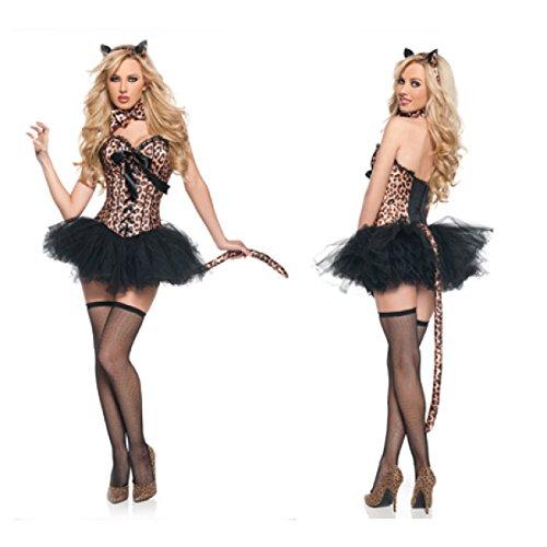 nihiug Halloween Kostüm Sexy Tiger Muster Leopard Katze Mädchen Lead Dance Performance Kostüm Bühnenbekleidung Body Sculpting,Clothes+Neck+Headwear+Tail+Skirt+NetSocks