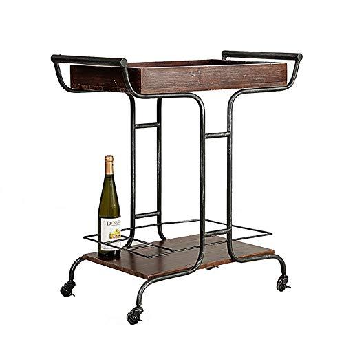 Salon Trolleys Loft Retro Speisewagen/Weinwagen mit Griff, 2 Regal Mobiler Schönheitssalon Spa Trolley Kleiner Wagen im europäischen Stil