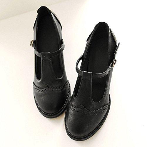 COOLCEPT Femme Mode Courroie en T Chaussures Basse Bloc Talons Moyeb Escarpins Bout Ferme Chaussures Noir
