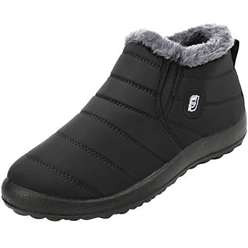 JOINFREE Unisex Erwachsene Winter Schneeschuhe Wildleder Flache Plattform Sneaker Wasserdicht Schwarz, 45 EU -