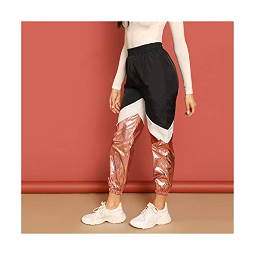 Okayit Color-Block Contrast Metallic Hosen Elastische Taille Ernte Hosen Frauen Mittlere Taille Lose Hosen Athleisure Hosen Colorblock Track Pant