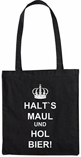 Mister Merchandise Tasche Halt´s Maul und hol Bier Stofftasche , Farbe: Schwarz Schwarz