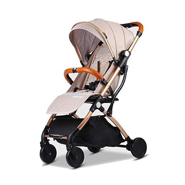 Baby Stroller Plane Lightweight Portable Travelling Pram Children Pushchair (Beige G)  Stroller For Plane and Travel Aluminium frame,light weight around 6.9-7.5 kg One hand easy folding way (practice required) 1