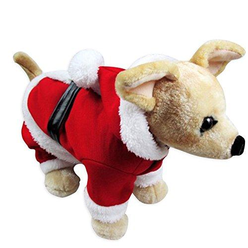 Morjava Père Noël pour animal domestique Costumes de Noël Chien Chat Vêtements d'hiver à capuche Chiot Manteau