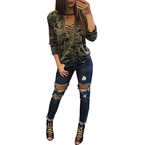 Tonsee Mode femmes manches longues chemise Blouse Casual Slim Camouflage impression Tops (L, Camouflage)