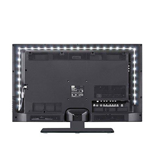 LED-TV-Hintergrundbeleuchtung JACKYLED 2M Streifen Licht Reines Weiß 6000K USB-Stromversorgung 5V Wasserdicht Zum Monitor Kabinett Anrichte Kleiderschrank Desktop Zuhause Dekoration