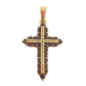 Croix Pendentif Femme en Or 18 carats Jaune avec Grenat, 3.5 Grammes