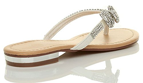 Femmes plat talon bas strass mariage de plage été élégante tongs sandales taille Blanc