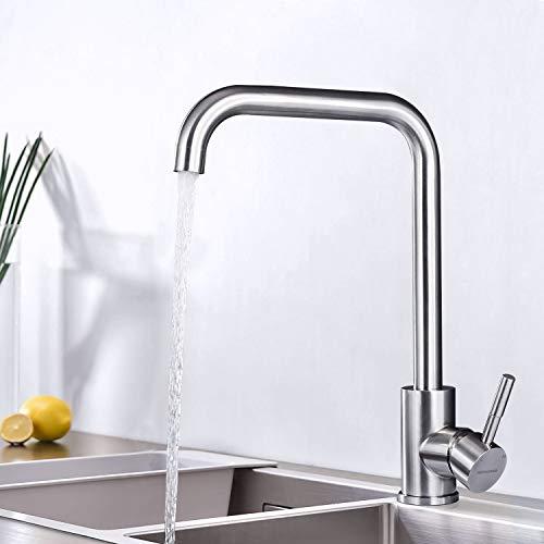 BONADE Wasserhahn Küchenarmatur aus SUS304 Edelstahl Gebürsteter Nickel, 360° Schwenkbereich Armatur Küche, Einhebelmischer Spültischarmatur, Spültischbatterie für Spüle -