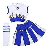 Freebily 3Pcs Disfraces de Animadora Fútibol Niñas Chicas Traje de Tank Top Lentejuelas+Falda Plisada+Medias para Fiesta Actuación Danza Gimnasia White&Blue 12-14Años