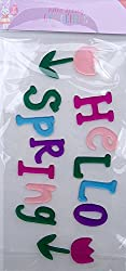 Spring Themed Hello Spring Gel Window Clings - 15 Piece