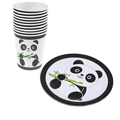 Cozywind 20er Panda Party Geschirr, Einweg Teller und Tassen für Urlaub Dekoration Geburtstag Hochzeit