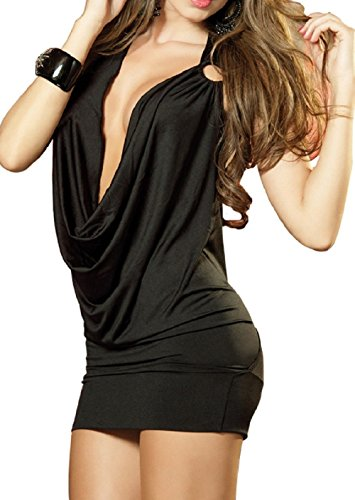 paplan Damen Deep V Halter-Wäsche-Rock Backless Hip-Huggers
