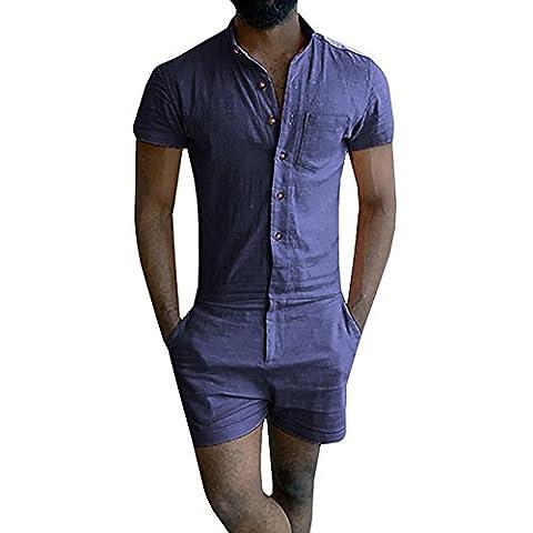 Salopette Short Homme - iShine Chemise-Shorts Attenant pour Homme Salopette Pantalon