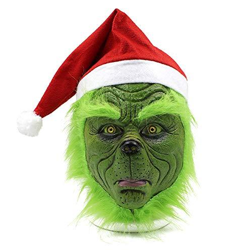 Grinch Ein Kostüm - Miminuo Maske mit Weihnachtsmütze Weihnachtskostüm Requisiten Scary Latex Full Head Mask