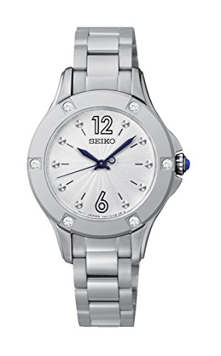 Seiko Quarz - Reloj de cuarzo para mujer, correa de acero inoxidable color plateado