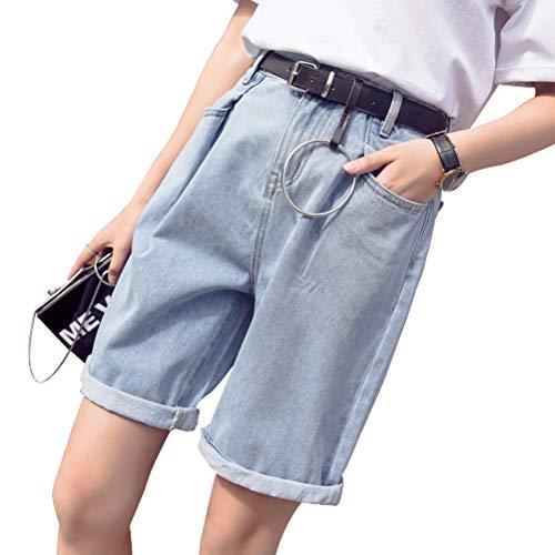 YSSGTT Hoch Taillierte Gefaltete Stretchy Sommer Juniors Denim Shorts Jeans Hosen - Wide Leg Cuff Hose