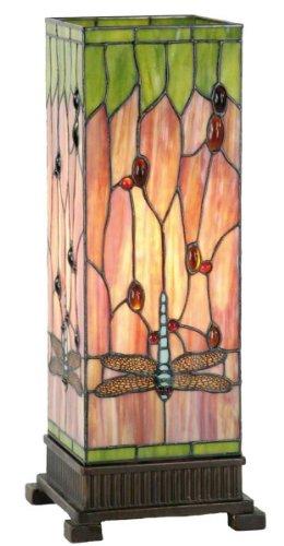 Lumilamp 5LL-9218 Tischleuchte Tiffany Stil buntes Glas 18 * 18 * 45 cm / E27/max 1 * 40W dekoratives buntglas handgefertigt glasschirm - Tiffany-art-glas-tisch-lampe