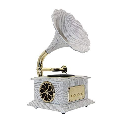 SMDFDN Mini Gramophone phonographes Musique Dynamique Haut-Parleur stéréo Bluetooth 4.2, câble Audio Home Office Club Bar Décor Ornements Haut-Parleur Bluetooth phonographe (Blanc)
