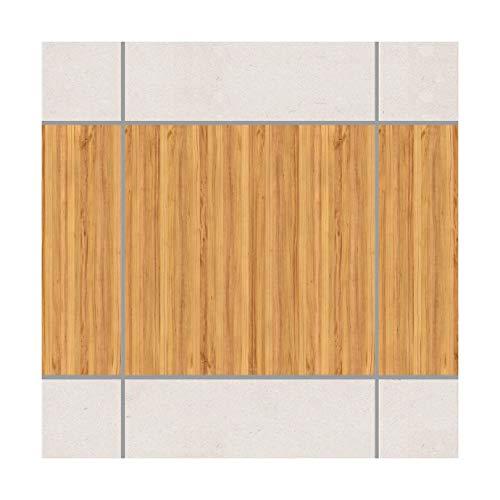Apalis Fliesenaufkleber Fliesenbild Mosaikfliese Holzoptik Weißtanne Set 6teilig 15x15cm