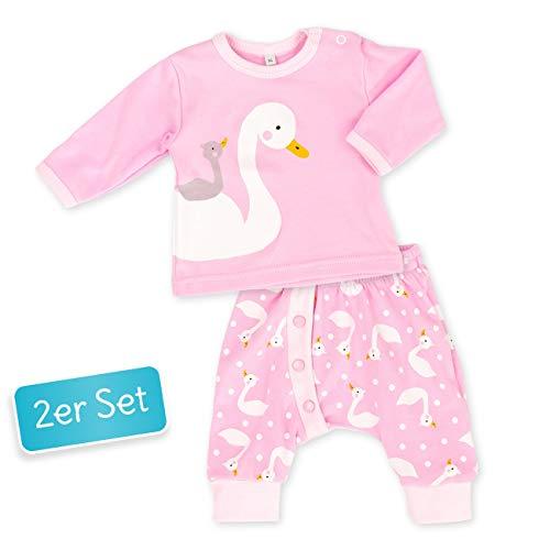 Baby Sweets Baby Set Hose + Shirt Mädchen rosa | Motiv: Schwan | Babyset mit 2 Teilen für Neugeborene & Kleinkinder | Größe 1 Monat (56) -