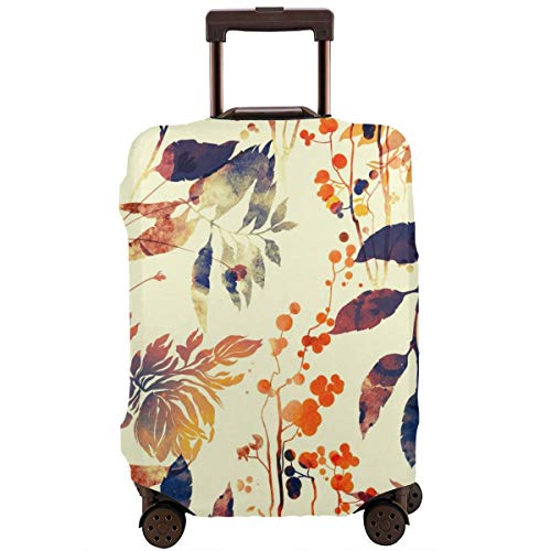 Travel Suitcase Protector,Imprints Flowers and Leaves Mix Repeat Seamless Pattern Watercolor and Digital Hand Drawn Picture Mixed Media Vintage Artwork,Suitcase Cover Washable Luggage Cover XL -