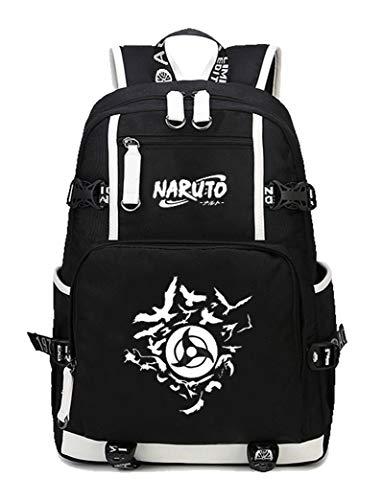 Kostüm Kinder Gaara - Cosstars Naruto Anime Leuchtend Backpack Schüler Schultasche Laptop Rucksäcke Freizeittasche Daypack Schwarz/Leuchtend 3