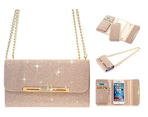 UnnFiko iPhone 6Plus Brieftasche Fall, La go go Luxus Bling Kristall Strass Handtasche Glitzer Leder Portemonnaie Flip Karte Pouch Stand Schutzhülle für iPhone 6S Plus, Gold, iPhone 6 Plus/6s Plus Apple-maden-falle