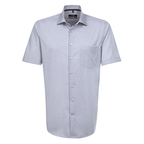 Seidensticker Herren Businesshemd Modern Kurzarm violett uni mit Kent-Kragen grau (0033)