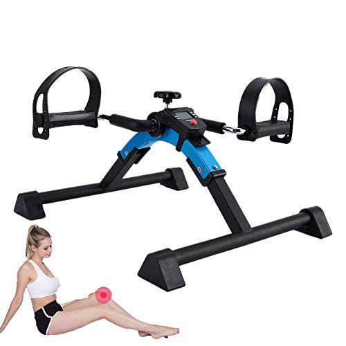 AMhuui Medizinischer faltender Pedal-Exerciser-Rehabilitations-Trainer, Faltbarer tragbarer Mini, faltbar für abnehmbares elektronisches Display des Bein- und Waffentrainings -
