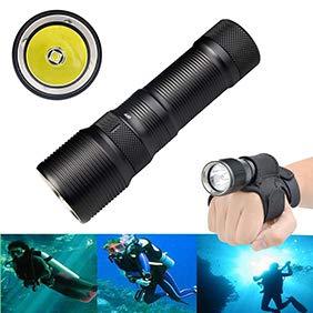 Obrid#e5on Tauchlampe Unterwasser Taschenlampe Mit Halter Handschuhe, Super Hell 100m Wasserdicht LED TaucherLampe für Video